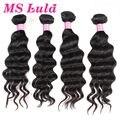 Envío libre MS lula pelo ondulado armadura del pelo humano más ondulado 4 unid lote natural puede ser teñido o blanqueado así malasio de la virgen pelo