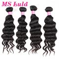 Free shipping ms lula hair human hair weave wavy more wavy 4pc lot natural could be dyed or bleached well malaysian virgin hair