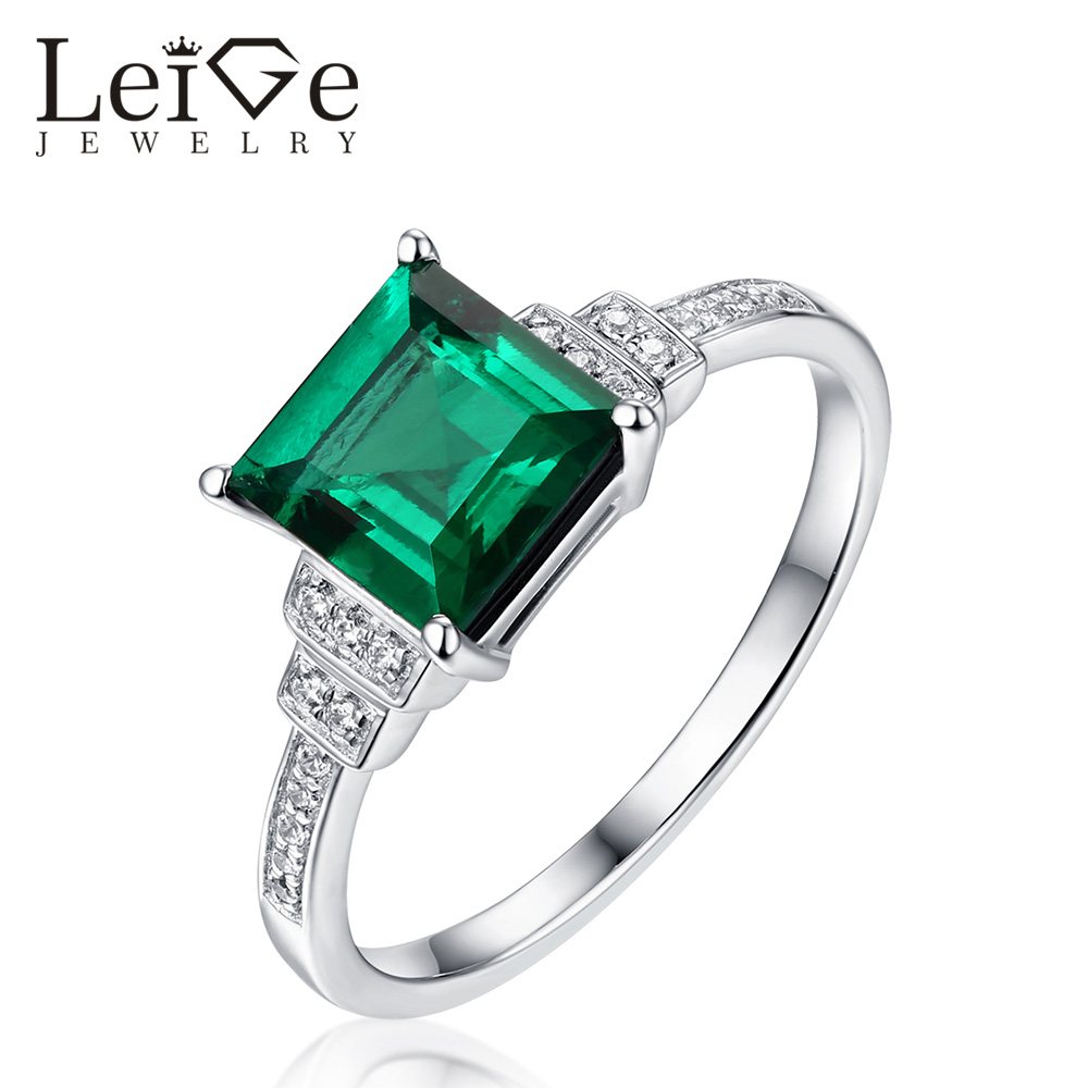 Leige Jewelry Classic Square Cut Emerald Ring 925 Sterling