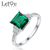 Leige Jewelry Classic Square Cut Emerald Ring 925 Sterling Silver Promise Anniversary Rings for Women Christmas Gift
