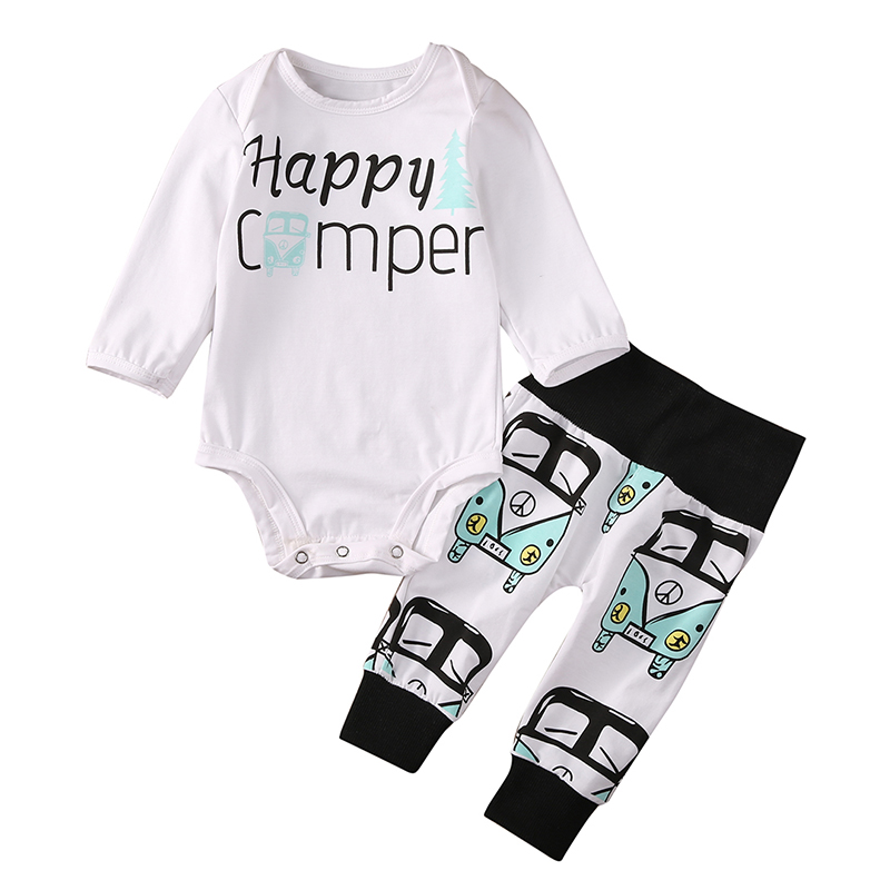 2pcs Newborn Baby Boy Clothes Casual Long Sleeve Cotton Romper Print Pant Outfit Toddler Kids Clothing Set Bebes Suit 3pcs newborn baby girl clothes set long sleeve letter print cotton romper bodysuit floral long pant headband outfit bebek giyim