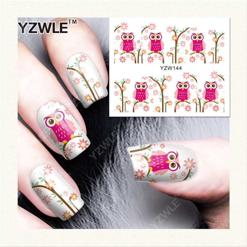 YZWLE  1 Sheet DIY Designer Water Transfer Nails Art Sticker / Nail Water Decals / Nail Stickers Accessories (YZW-144) yzwle 1 sheet diy designer water transfer nails art sticker nail water decals nail sticker accessories yzw 8196