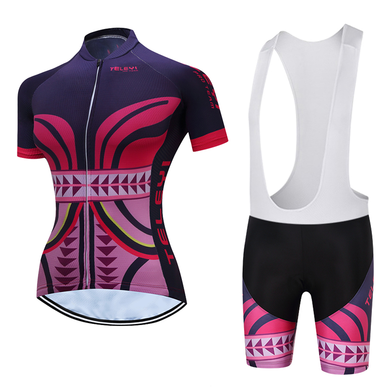 TELEYI Women Bike Cycling Clothing Cycling Jersey Sets Spring/ Autumn Bicycle Team Outdoor Sportswear Clothing Breathable women s cycling shorts cycling mountain bike cycling equipment female spring autumn breathable wicking silicone skirt