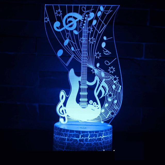 Guitar Series 3d Lamp Led Atmosphere Lantern Creative Gifts Visual Led Night Light White base Lovely 7 color change Lamps