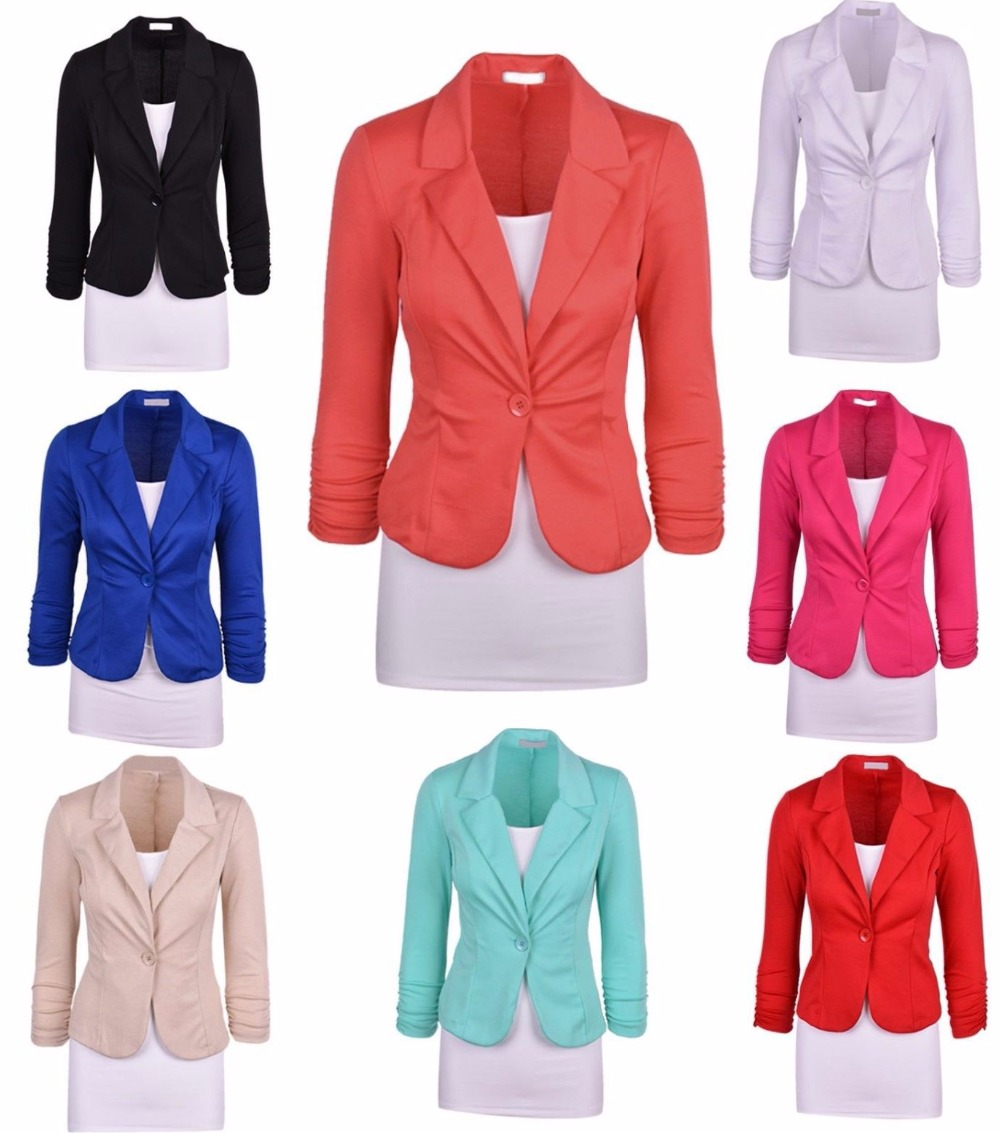 Woman single button solid color long sleeve font b blazer b font multicolor turn down collar
