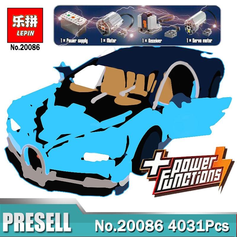 Lepin 20086D Technic Blau Bugatti Set mit Power Funktion Kompatibel Legoings 42083 Bausteine Pädagogisches Spielzeug Jungen Geschenk