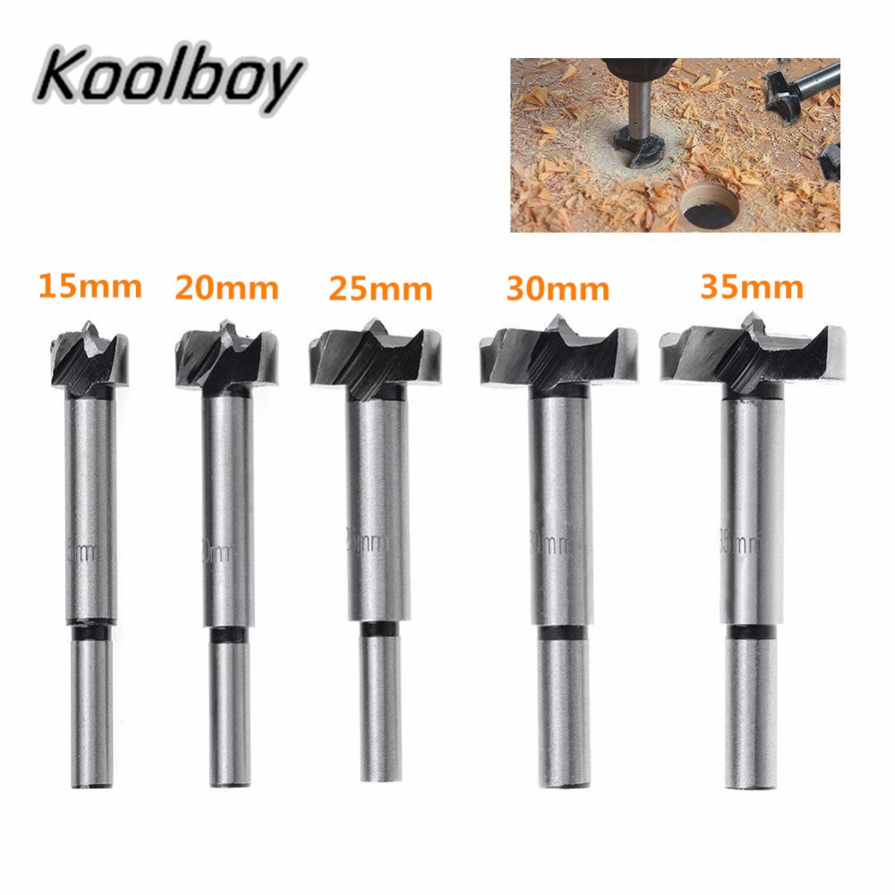 цена на 15/20/25/30/35mm Forstner Auger Drill Bit Set Round Shank Wood Tools Forstner Tips Hinge Boring Woodworking Hole Saw Cutter