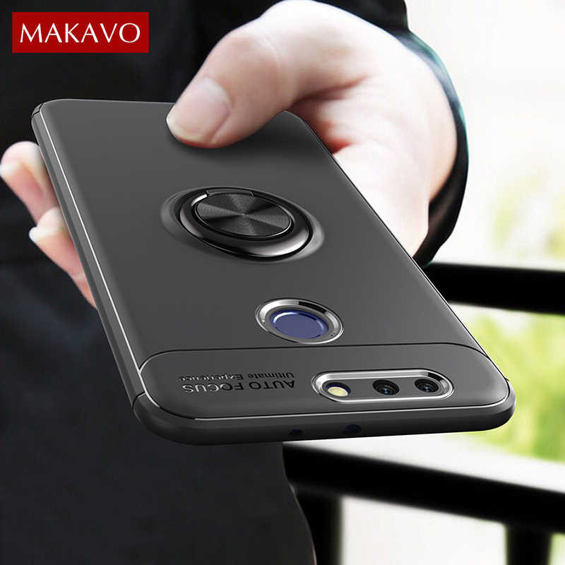 Makavo For Huawei Honor 8 Pro Case 5.7 inch Ring Holder Silicone Rubber Matte Back Cover on For Honor8 Pro Phone Case Skin 5.7""