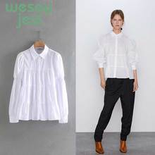 2019 New Autumn Lapel Long Sleeve Fold White Loose Shirt Women Blouse Fashion Tide button casual loose tops [eam] 2018 new autumn lapel long sleeve white printed one pocket loose big size shirt women blouse fashion tide je63301