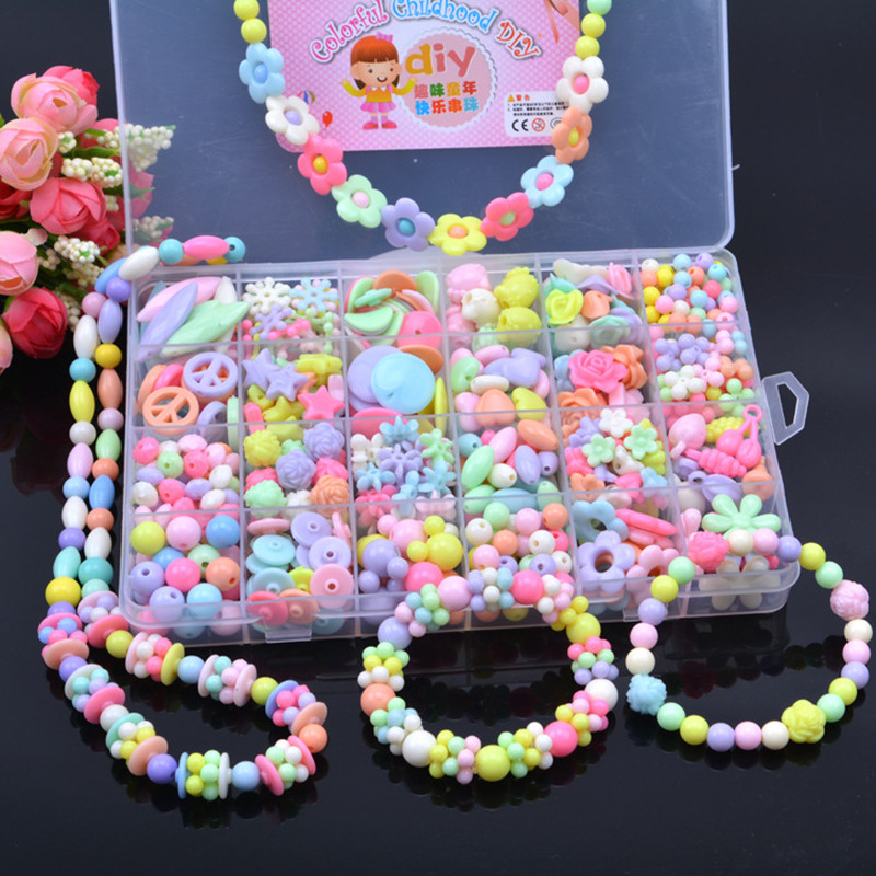 1 boxes of popular beads fashion jewelry box DIY toy unit together education children's toys training children's hands-on skills