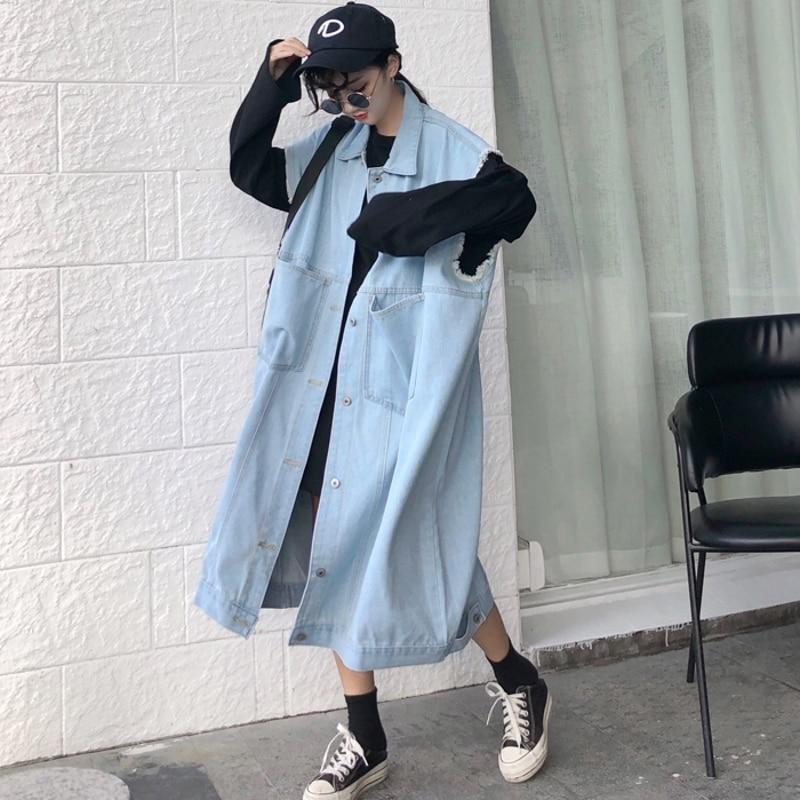 LANMREM 2019 Spring Autumn New Temperament Women Fashion Loose Solid Color Wild Long Sleeveless Denim Jacket TC078