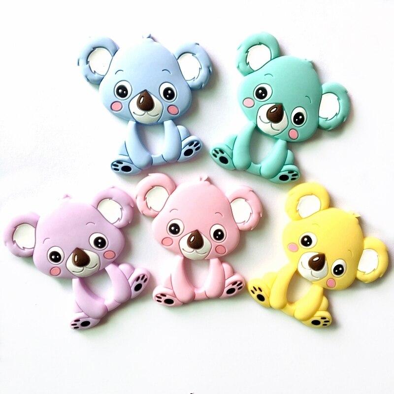 1pcs Silicone Koala Baby Teethers Diy Teething Necklace Accessories Newborn Baby Teething Toys  BPA Free Baby Teether Pendant