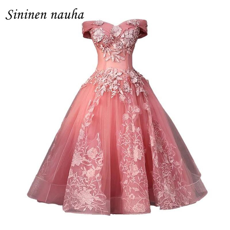 Pink Short   Prom     Dress   Party   Dresses   for Juniors Women 2019 Off The Shoulder A Line Appliques Plus Size Vestidos De Festa 283
