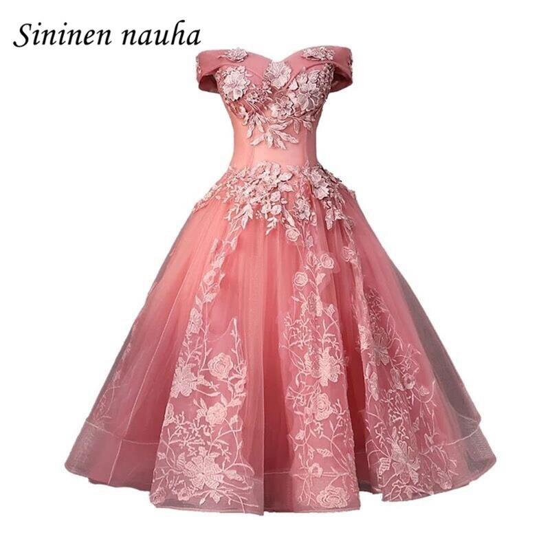 Robe De bal courte rose robes De soirée pour les femmes Juniors 2019 hors De l'épaule une ligne Appliques grande taille Vestidos De Festa 283