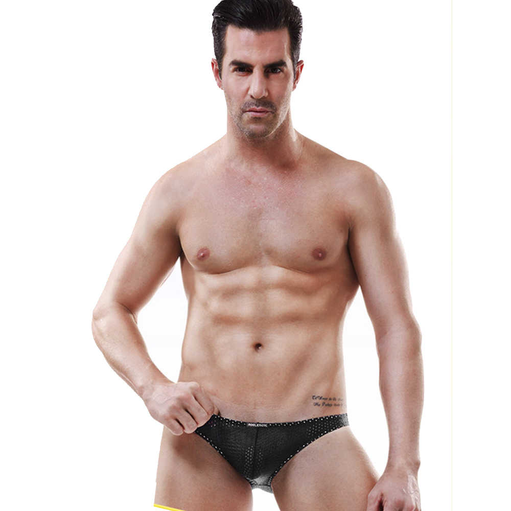 Malha Ver Através Roupa Interior Respirável dos homens Ultra-fino Cuecas Verão Quick Dry Esporte Ginásio Desgaste Do Clube Gay Mens calcinha do Biquíni