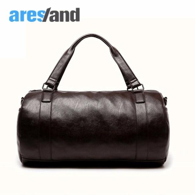 Aresland hombres de gran capacidad de bolsa de viaje de cuero impermeable de la pu bolsas bolso de mano del equipaje de lona redonda señora diseñador duradero