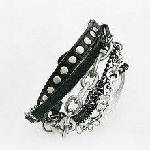 Модные очаровательные панк-рок браслеты с заклепками металлические тяжелые цепи многослойный PU кожаный браслет цепочка