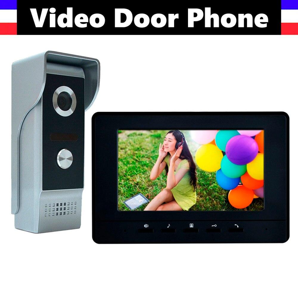 7 Inch Video Intercom System Aluminum Alloy Camera Video Door Phone Doorbell Doorphones Kit 1 LCD Monitor 1 IR Camera (Black)