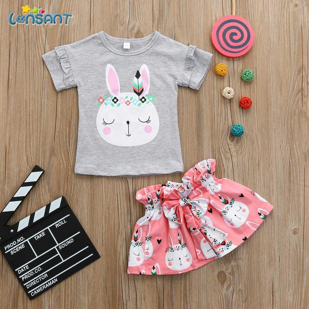 c243e627d203 ... LONSANT New Arrival Summer Toddler Kids Baby Girls Gray Cartoon Rabbit  Tops Short Sleeve T Shirt ...