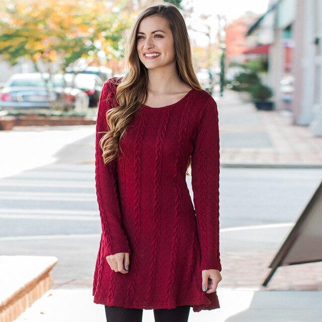 de9aeadcc6 Wool Knitted Cotton Women Autumn Winter Sweater Dress Long Sleeve Dress  Vestidos Jumper Knitwear Dresses Red Gray Beige Brown