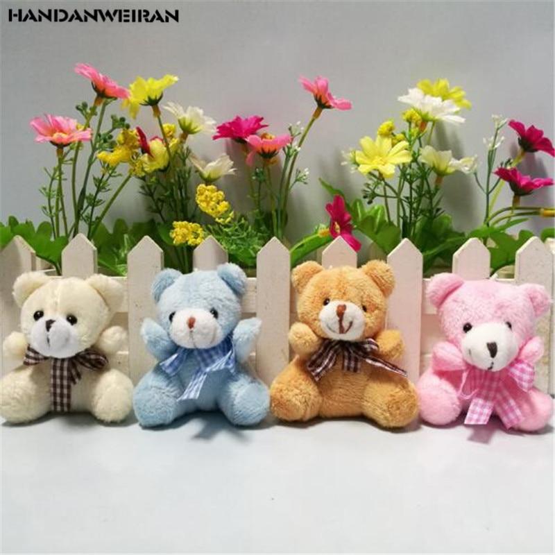 4PCS Mini Plush Bears Toy Small Pendant Lattice Bow Tie Bear Soft Stuffed Animal Toys For Kids Gifts Wholesal 5.5CM HANDANWEIRAN