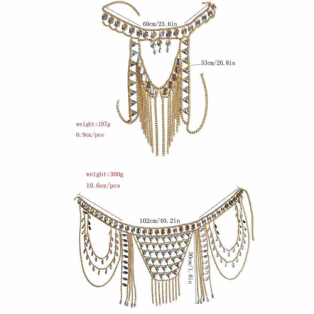 ออกแบบใหม่ Halter Bra Body Chain ชุดแฟชั่นเซ็กซี่ยุโรปและอเมริกาเซ็กซี่ชายหาดสีโซ่จับคู่ชุดเครื่องประดับ