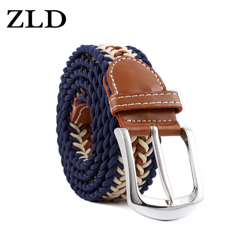 ZLD New Top Fashion Men's Stretch Braided Elastic Woven Canvas Pin Buckle Women Belt Waistband Waist Straps Faux Leather 2019
