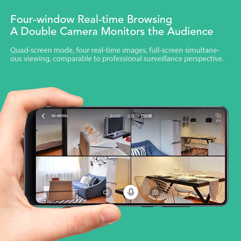 Image 2 - Xiaomi Xiaofang Camera Dual Lens Version Panoramic Smart Network IP Camera Four Screens in One Window Two way Audio Support VR-in Surveillance Cameras from Security & Protection