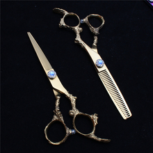 5.5 16cm 440C Customized Logo Golden Barber Shop Normal Scissors Thinning Shears Professional Hair Styling Tool C9005