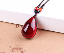 The second generation  beeswax blood, nothing, wine red drop pendant, sweater chain necklace pendant недорого