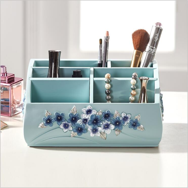 Organisateurs de maquillage en résine pour bureau salle de bains organisateurs de stockage de cosmétiques fleur bleue de style européen