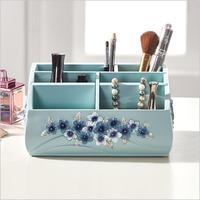 Resin Makeup Organizers for Office Bathroom Cosmetics Storage Organizers European style Blue flower