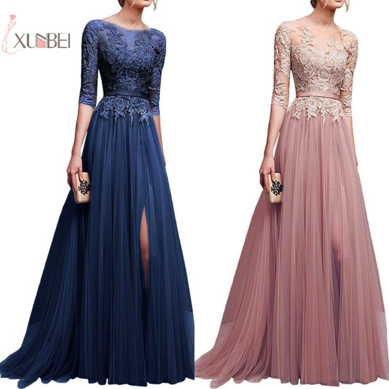 2019 Elegant Pink Navy Blue Tulle Long   Bridesmaid     Dresses   Lace Applique Half Sleeve High Split Wedding Guest Party Guest   Dress