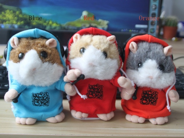 Wholesale 3 piece DJ Talking Hamster and moving Hamster talking plush Toy,repeat any language--red,blue,orange Color