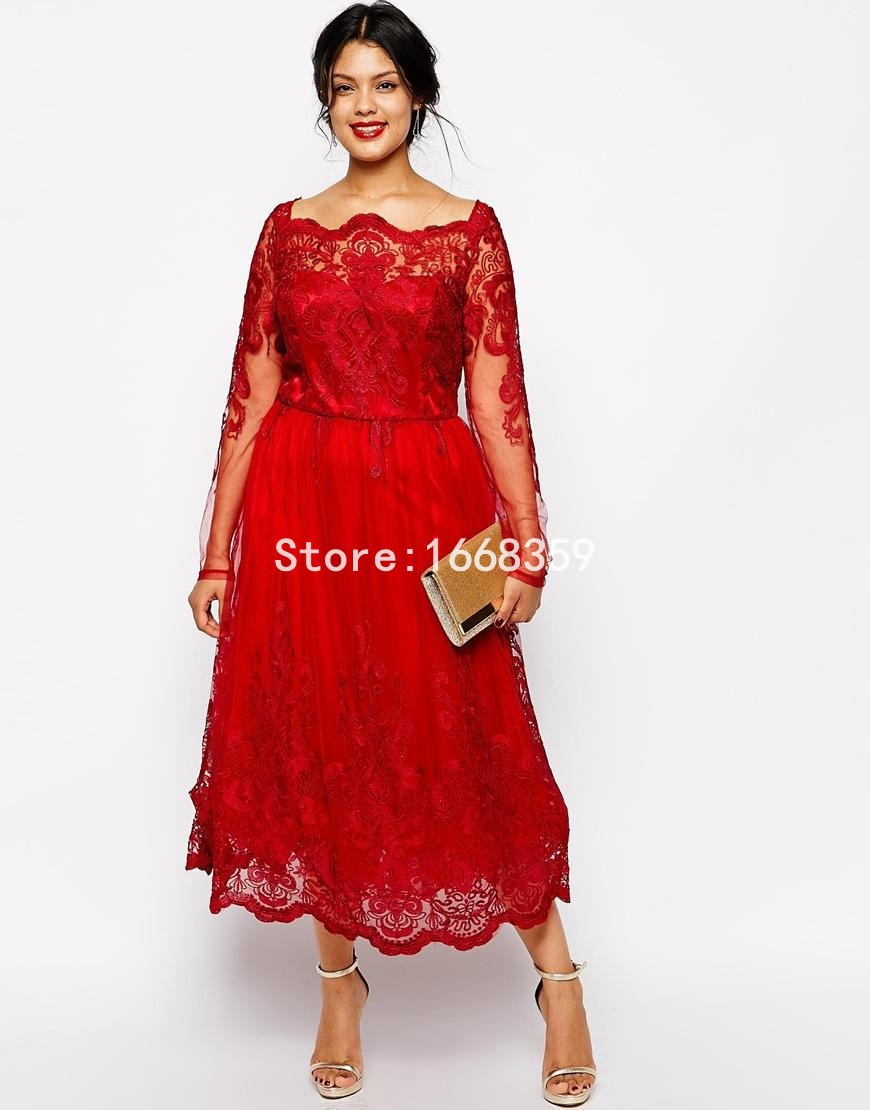 Free Shipping Red Mother Of The Bride Dresses Plus Size 2017 Scoop Long Sleeves A Line Short Prom Dress Custom Made Zl1163 In