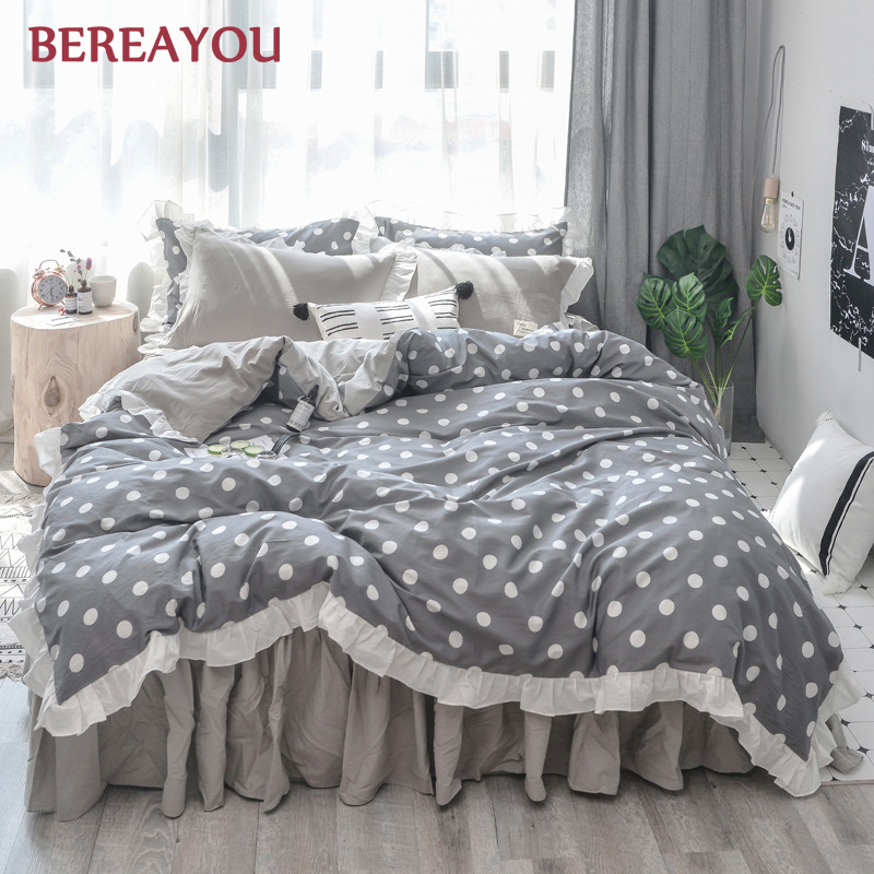 Luxury Bedding Sets 40S Washed Cotton Bed Skirt Princess Fitted Bed Sheet Full Queen Size Duvet Cover Kids Single ropa de cama in Bedding Sets from Home Garden