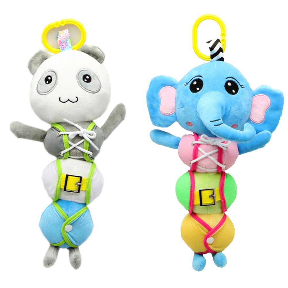 Baby Toys Rattles Toy Kids Soft Cute Cartoon Plush Toy Animal Clip Baby Crib Bed Hanging Bells Early Education Toys for Stroller