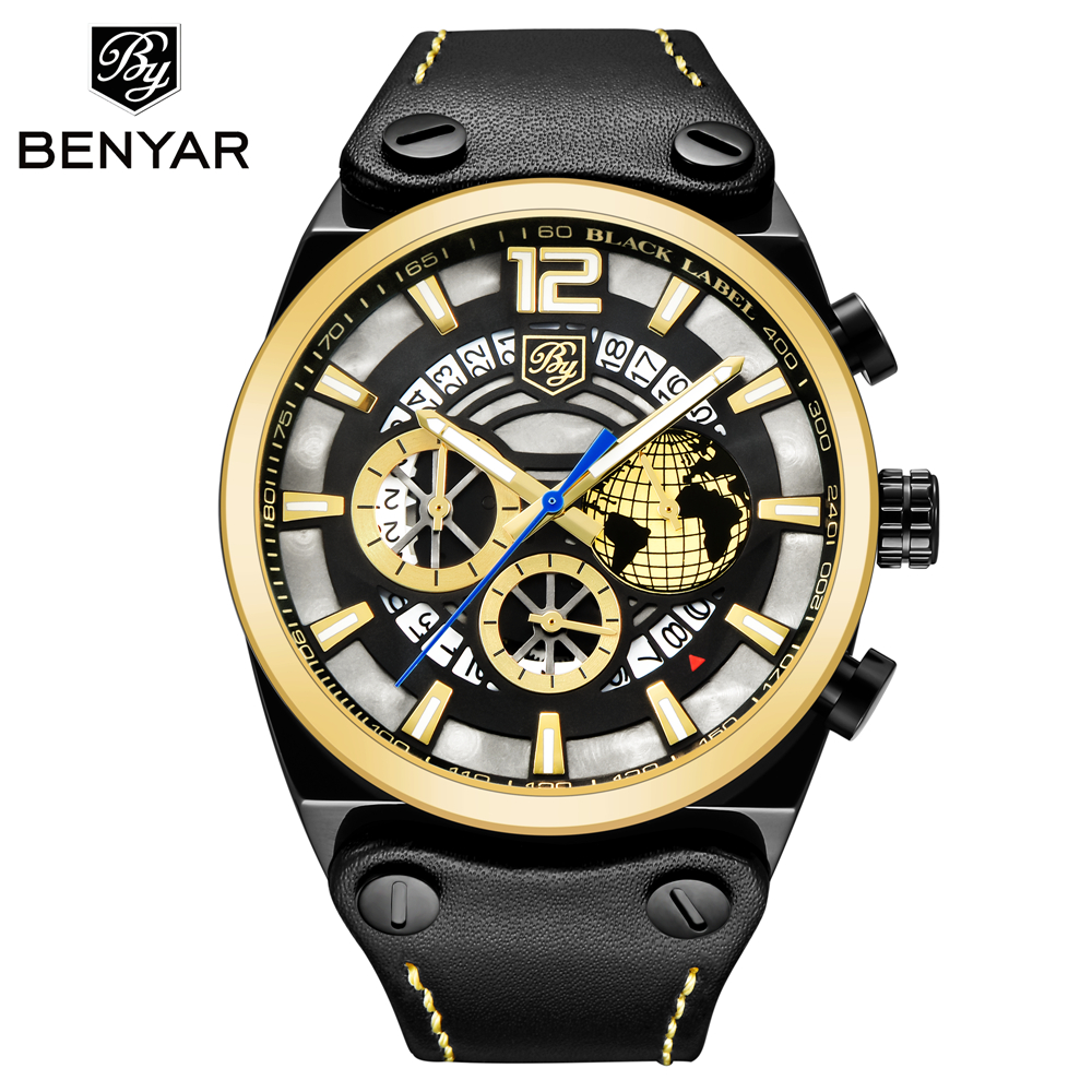 BENYAR New Luxury Big Dial Sport Watch Men Waterproof Outdoor Skeleton Quartz Chronograph Sport Watch Male Clock erkek kol saati цена