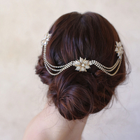 Gold Flower Head Chain With Hair Combs Bride Hair Vine Jewelry Wedding Hair Accessories Bridal Headpiece