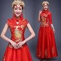 Phoenix Dragón Mujeres Del Vestido Rojo de La Boda Vestidos de Seda Cheongsam Qipao Chino vestido de Dos Piezas del Cheongsam Más Tamaño Vestidos Orientales