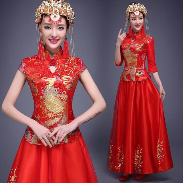 Aliexpress.com : Buy Phoenix Dragon Dress Women Red Wedding ...