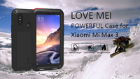 For Xiaomi mi max 3 Cover Metal Aluminum Case Love Mei Powerful Case For Xiaomi mi max 3 Shockproof Case with Tempered Glass