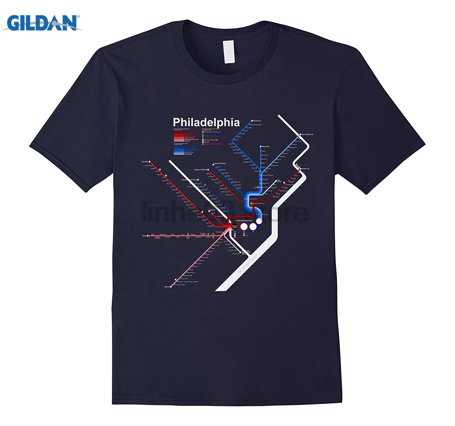 GILDAN Philadelphia T-Shirt City Map Train Rail Station PA Gift Tee Hot Womens T-shirt