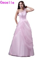Real Glamorous Pink Tulle A Line Prom Dresses One Shoulder Floor Length Teens Seniors Girls Formal