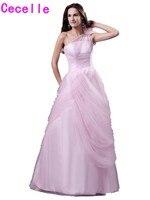 Real Glamorous Pink Tulle A Line Prom Dresses One Shoulder Floor Length Teens Seniors Girls Formal