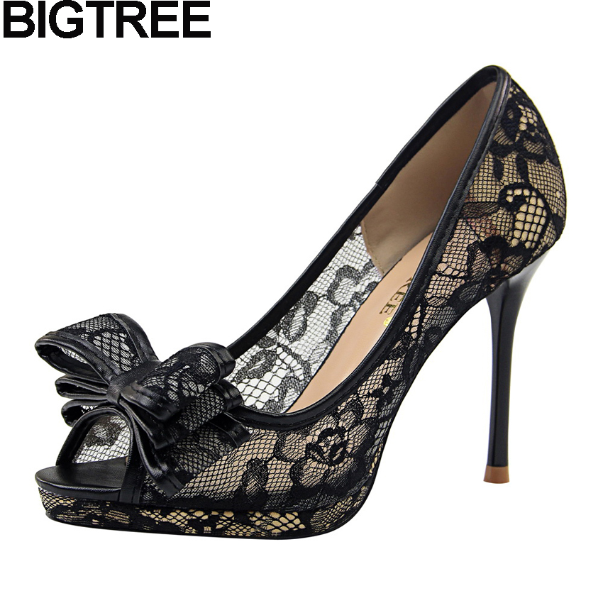 BIGTREE Women Pumps Peep To High Heels Butterfly Knot Bow Tie Women Lace Shoes Slip On Shallow Platform Stilettos Dress Shoes contrast lace knot cami dress