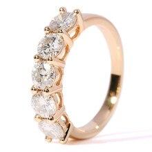 Fine Genuine 14 K 585 Yellow Gold 2 Carat tcw Anniversary Engagement Wedding Dia mond Ring Band Eternity Women Brithday Gift