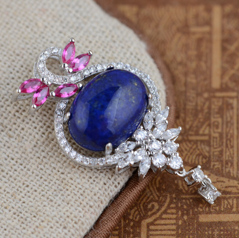 [silver] deer King Lapis Pendant S925 sterling silver wholesale air female micro / electroplating process