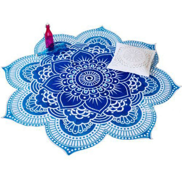 Lotus Flower Table Cloth Yoga Mat India Mandala Tapestry Beach Throw Mat Beach Mat Cover Up Round Beach Pool Home Blanket 3