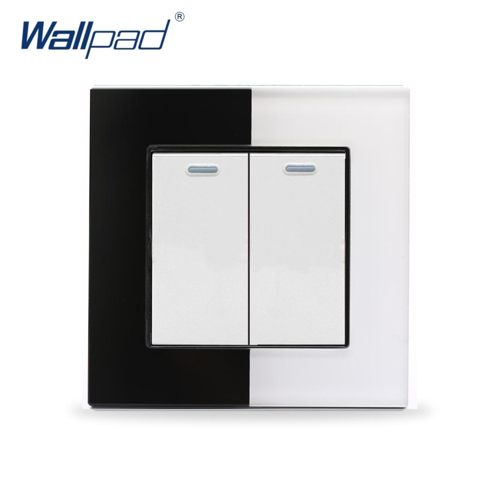 Double Control Light Switch Wallpad 110V-250V EU UK Luxury Piano Glass 2 Gang 2 Way Push Buttons Rocker Wall Switch Button